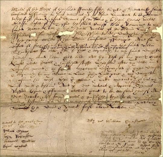 Третья страница завещания У. Шекспира
